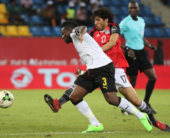 Asamoah Gyan of Ghana challenged by Mohamed Elneny of Egypt during the 2017 Africa Cup of Nations Finals football match between Egypt and Ghana at the Port Gentil Stadium in Gabon on 25 January 2017 ©Chris Ricco/BackpagePix