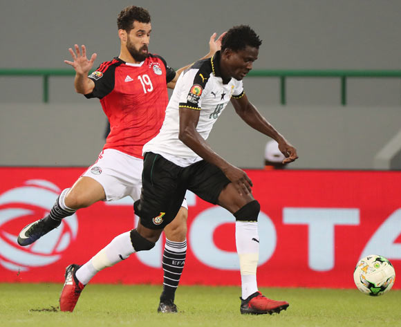 Daniel Amartey of Ghana challenged by Abdallah El Said of Egypt during the 2017 Africa Cup of Nations Finals football match between Egypt and Ghana at the Port Gentil Stadium in Gabon on 25 January 2017 ©Chris Ricco/BackpagePix