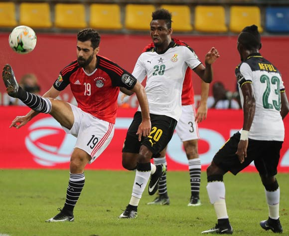Abdallah El Said of Egypt clears ball from Samuel Tetteh of Ghana during the 2017 Africa Cup of Nations Finals football match between Egypt and Ghana at the Port Gentil Stadium in Gabon on 25 January 2017 ©Chris Ricco/BackpagePix