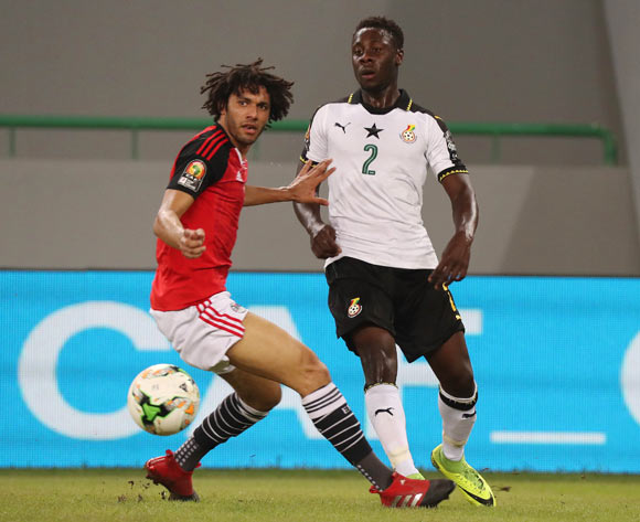 Andrew Kyere Yiadom of Ghana evades tackle from Mohamed Elneny of Egypt during the 2017 Africa Cup of Nations Finals football match between Egypt and Ghana at the Port Gentil Stadium in Gabon on 25 January 2017 ©Chris Ricco/BackpagePix