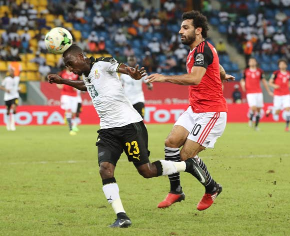 Harrison Afful of Ghana clears ball from Mohamed Salah of Egypt during the 2017 Africa Cup of Nations Finals football match between Egypt and Ghana at the Port Gentil Stadium in Gabon on 25 January 2017 ©Chris Ricco/BackpagePix