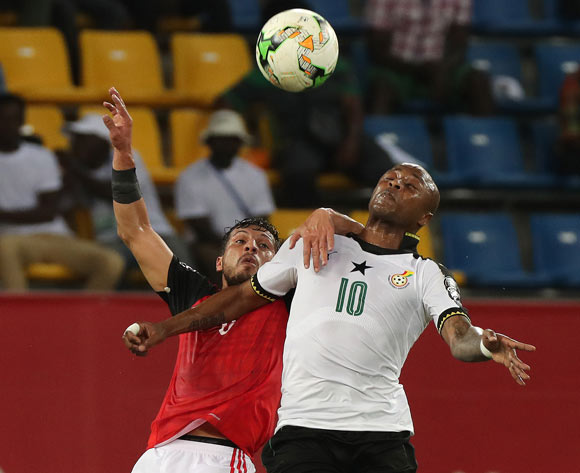 Andre Ayew of Ghana challenged by Tarek Hamed of Egypt during the 2017 Africa Cup of Nations Finals football match between Egypt and Ghana at the Port Gentil Stadium in Gabon on 25 January 2017 ©Chris Ricco/BackpagePix