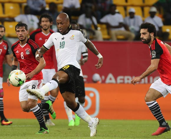 Andre Ayew of Ghana evades tackle from Tarek Hamed of Egypt (l) and Mohamed Salah of Egypt (r) during the 2017 Africa Cup of Nations Finals football match between Egypt and Ghana at the Port Gentil Stadium in Gabon on 25 January 2017 ©Chris Ricco/BackpagePix