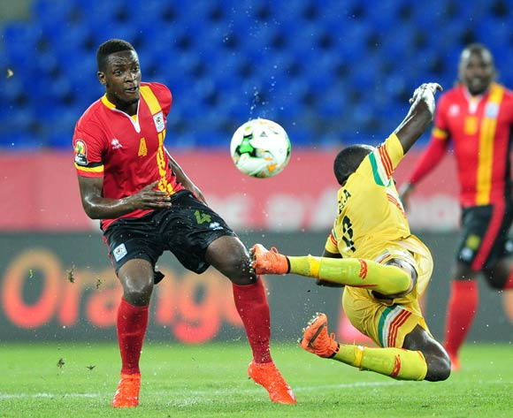 Moussa Marega of Mali challenged by Murushid Juuko of Uganda during the 2017 Africa Cup of Nations Finals match between Uganda and Mali at the Oyem Stadium in Gabon on 25 January 2017 ©Samuel Shivambu/BackpagePix