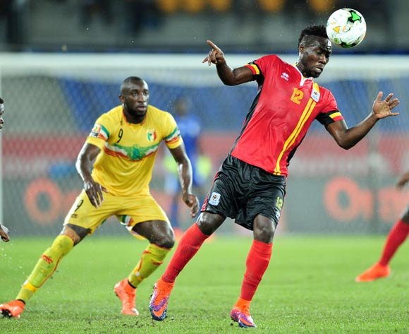 Denis Iguma of Uganda challenged by Moussa Marega of Mali during the 2017 Africa Cup of Nations Finals match between Uganda and Mali at the Oyem Stadium in Gabon on 25 January 2017 ©Samuel Shivambu/BackpagePix