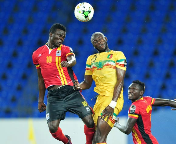 Luwaga Kizoto of Uganda challenged by Ousmane Coulibaly of Mali during the 2017 Africa Cup of Nations Finals match between Uganda and Mali at the Oyem Stadium in Gabon on 25 January 2017 ©Samuel Shivambu/BackpagePix