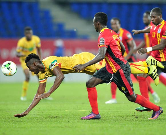 Mahamadou Ndiaye of Mali challenged by Luwaga Kizoto of Uganda during the 2017 Africa Cup of Nations Finals match between Uganda and Mali at the Oyem Stadium in Gabon on 25 January 2017 ©Samuel Shivambu/BackpagePix