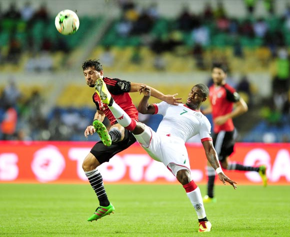 Tarek Hamed of Egypt (l) tackled by Prejuce Nakoulma of Burkina Faso (r) during the 2017 Africa Cup of Nations semi final match between Burkina Faso and Egypt at the Libreville Stadium in Gabon on 01 February 2017.  EPA/Samuel Shivambu