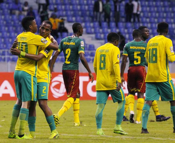 Notha Ngcobo of South Africa celebrates with goalscorer Luther Singh (10) during the 2017 Afcon Under-20 game between Cameroon and South Africa at Levy Mwanawasa Stadium in Ndola, Zambia on 27 February 2017 © Guy Suffo/BackpagePix