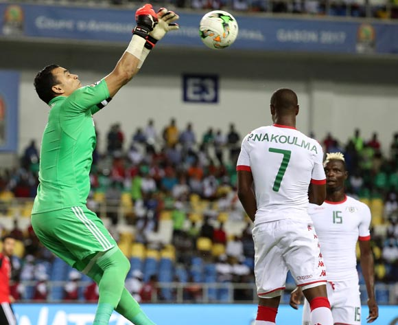 Essam El Hadary of Egypt punches clear ahead of Prejuce Nakoulma of Burkina Faso during the 2017 African Cup of Nations Finals Afcon semifinal football match between Burkina Faso and Egypt at the Libreville Stadium in Gabon on 01 February 2017 ©Gavin Barker/BackpagePix