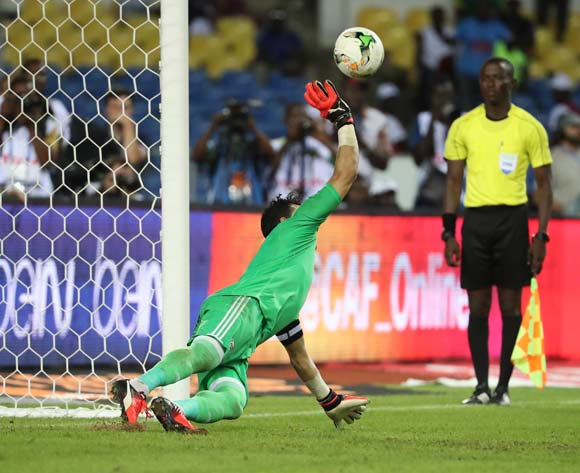 Essam El Hadary of Egypt saves penalty from Herve Koffi of Burkina Faso in shootout during the 2017 African Cup of Nations Finals Afcon semifinal football match between Burkina Faso and Egypt at the Libreville Stadium in Gabon on 01 February 2017 ©Gavin Barker/BackpagePix