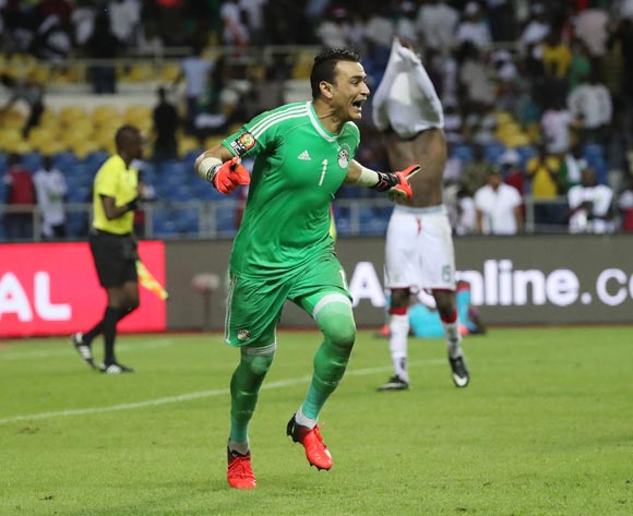 Essam El Hadary of Egypt celebrates after saving Bertrand Traore of Burkina Faso penalty in shootout during the 2017 African Cup of Nations Finals Afcon semifinal football match between Burkina Faso and Egypt at the Libreville Stadium in Gabon on 01 February 2017 ©Gavin Barker/BackpagePix