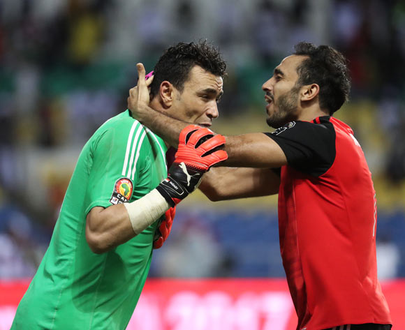 Essam El Hadary of Egypt celebrates after saving Bertrand Traore of Burkina Faso penalty in shootout, embraced by Mahmoud Abdelmoneim Kahraba during the 2017 African Cup of Nations Finals Afcon semifinal football match between Burkina Faso and Egypt at the Libreville Stadium in Gabon on 01 February 2017 ©Gavin Barker/BackpagePix