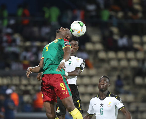 Jacques Zoua of Cameroon wins header against Christian Atsu of Ghana during the 2017 Africa Cup of Nations Finals Afcon semifinal football match between Cameroon and Ghana at the Franceville Stadium in Gabon on 02 February 2017 ©Gavin Barker/BackpagePix