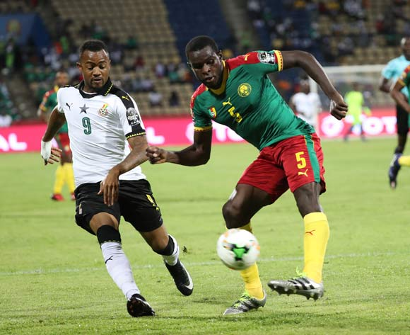 Michael Ngadeu of Cameroon  (r) clears ball from Jordan Ayew of Ghana during the 2017 Africa Cup of Nations Finals Afcon semifinal football match between Cameroon and Ghana at the Franceville Stadium in Gabon on 02 February 2017 ©Gavin Barker/BackpagePix
