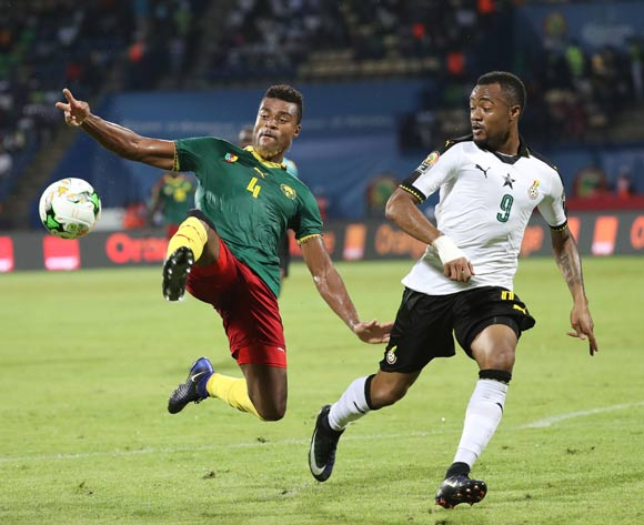 Adolph Teikeu Kamgang of Cameroon (l) challenged by Jordan Ayew of Ghana(r)  during the 2017 Africa Cup of Nations Finals Afcon semifinal football match between Cameroon and Ghana at the Franceville Stadium in Gabon on 02 February 2017 ©Gavin Barker/BackpagePix