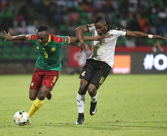 Jacques Zoua of Cameroon (l) challenged by Wakasu Mubarak of Ghana(r)  during the 2017 Africa Cup of Nations Finals Afcon semifinal football match between Cameroon and Ghana at the Franceville Stadium in Gabon on 02 February 2017 ©Gavin Barker/BackpagePix