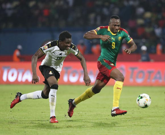 Jacques Zoua of Cameroon (r) challenged by Daniel Amartey of Ghana during the 2017 Africa Cup of Nations Finals Afcon semifinal football match between Cameroon and Ghana at the Franceville Stadium in Gabon on 02 February 2017 ©Gavin Barker/BackpagePix