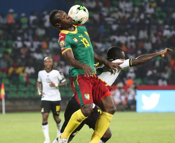 Christian Bassogog of Cameroon wins header against Frank Acheampong of Ghana during the 2017 Africa Cup of Nations Finals Afcon semifinal football match between Cameroon and Ghana at the Franceville Stadium in Gabon on 02 February 2017 ©Gavin Barker/BackpagePix
