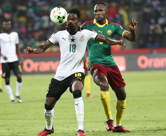 Daniel Amartey of Ghana shields ball from Jacques Zoua of Cameroon during the 2017 Africa Cup of Nations Finals Afcon semifinal football match between Cameroon and Ghana at the Franceville Stadium in Gabon on 02 February 2017 ©Gavin Barker/BackpagePix