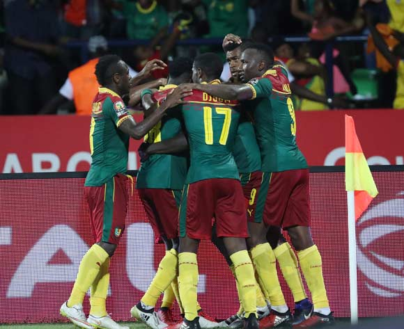 Cameroon players celebrate Michael Ngadeu goal  during the 2017 Africa Cup of Nations Finals Afcon semifinal football match between Cameroon and Ghana at the Franceville Stadium in Gabon on 02 February 2017 ©Gavin Barker/BackpagePix