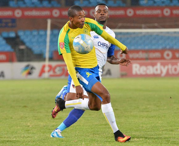 Thapelo Morena of  Mamelodi Sundowns challenged by Andile Mbenyane of Chippa United during the Absa Premiership 2016/17 match between Mamelodi Sundowns and Chippa United at Loftus Stadium, South Africa on 28 February 2017 ©Samuel Shivambu/BackpagePix