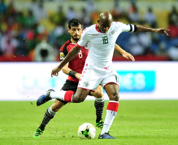 Charles Kabore of Burkina Faso challenged by Tarek Hamed of Egypt during the 2017 Africa Cup of Nations Finals Afcon SemiFinal match between Burkina Faso and Egypt at the Libreville Stadium in Gabon on 01 February 2017 ©Samuel Shivambu/BackpagePix