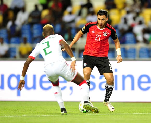 Mahmoud Hassan Trezeguet of Egypt challenged by Steeve Yago of Burkina Faso during the 2017 Africa Cup of Nations Finals Afcon SemiFinal match between Burkina Faso and Egypt at the Libreville Stadium in Gabon on 01 February 2017 ©Samuel Shivambu/BackpagePix