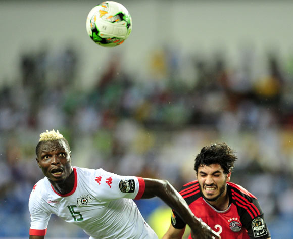 Aristide Bance of Burkina Faso challenged by Ali Gabr of Egypt during the 2017 Africa Cup of Nations Finals Afcon SemiFinal match between Burkina Faso and Egypt at the Libreville Stadium in Gabon on 01 February 2017 ©Samuel Shivambu/BackpagePix