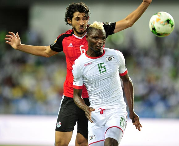 Aristide Bance of Burkina Faso challenged by Ahmed Hegazy of Egypt during the 2017 Africa Cup of Nations Finals Afcon SemiFinal match between Burkina Faso and Egypt at the Libreville Stadium in Gabon on 01 February 2017 ©Samuel Shivambu/BackpagePix