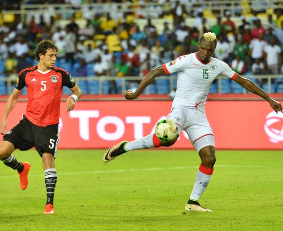 Aristide Bance of Burkina Faso scores a goal while Ibrahim Salah of Egypt watching during the 2017 Africa Cup of Nations Finals Afcon SemiFinal match between Burkina Faso and Egypt at the Libreville Stadium in Gabon on 01 February 2017 ©Samuel Shivambu/BackpagePix