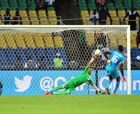 Essam El Hadary of Egypt save a penalty of Herve Koffi of Burkina Faso during the 2017 Africa Cup of Nations Finals Afcon SemiFinal match between Burkina Faso and Egypt at the Libreville Stadium in Gabon on 01 February 2017 ©Samuel Shivambu/BackpagePix