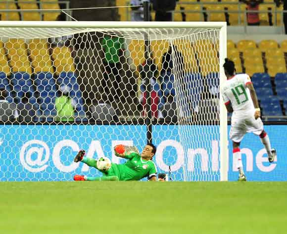 Essam El Hadary of Egypt save a penalty of Bertrand Traore of Burkina Faso during the 2017 Africa Cup of Nations Finals Afcon SemiFinal match between Burkina Faso and Egypt at the Libreville Stadium in Gabon on 01 February 2017 ©Samuel Shivambu/BackpagePix