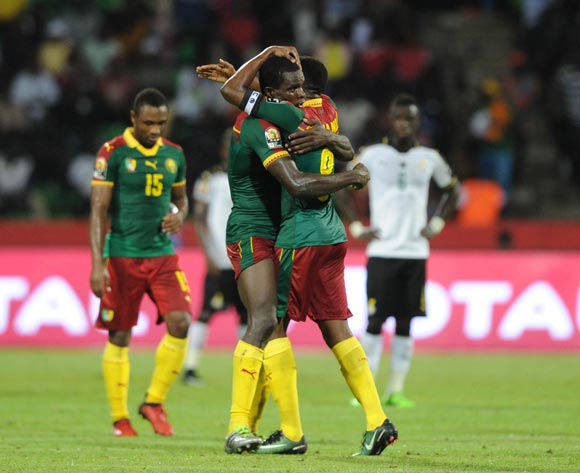 Cameroon celebrates a goal during the 2017 Africa Cup of Nations Finals Afcon semifinal football match between Cameroon and Ghana at the Franceville Stadium in Gabon on 02 February 2017 ©Sydney Mahlangu/BackpagePix