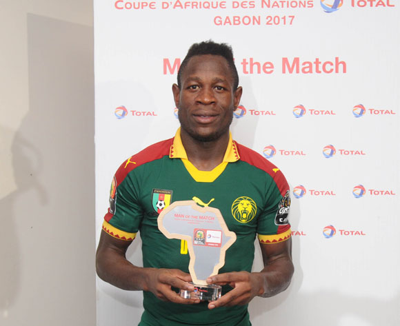 Christian Bassogog of Cameroon  awarded TOTAL man of the match during the 2017 Africa Cup of Nations Finals Afcon semifinal football match between Cameroon and Ghana at the Franceville Stadium in Gabon on 02 February 2017 ©Sydney Mahlangu/BackpagePix