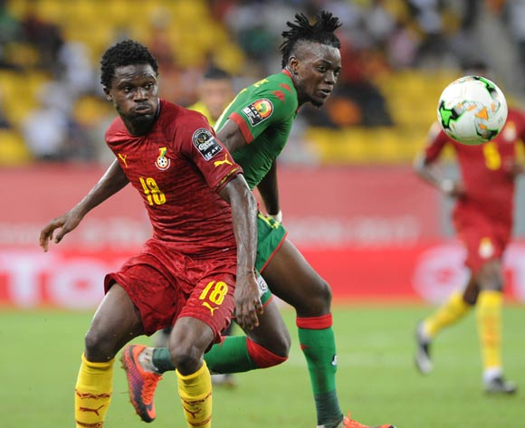 Daniel Amartey of Ghana challenges Bertrand Traore of Burkina Faso during the 2017 Africa Cup of Nations Finals 3&4 match playoff between Burkina Faso and Ghana at the Port Gentil  in Gabon on 04 February 2017 ©Sydney Mahlangu/BackpagePix
