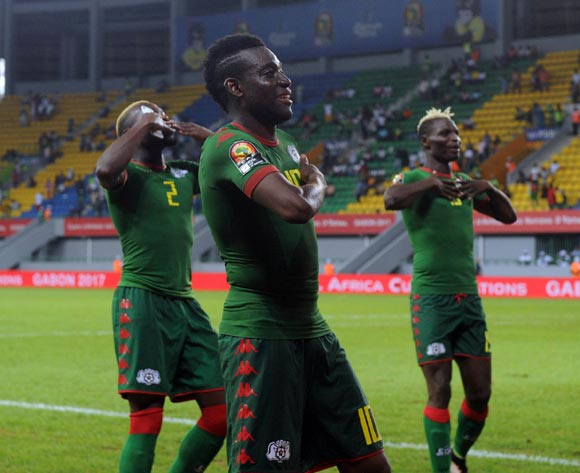 Alain Traore of Burkina Faso celebrates with teammates during the 2017 Africa Cup of Nations Finals 3&4 match playoff between Burkina Faso and Ghana at the Port Gentil  in Gabon on 04 February 2017 ©Sydney Mahlangu/BackpagePix