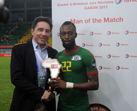 Blati Toure of Burkina Faso awarded TOTAL man of the match during the 2017 Africa Cup of Nations Finals 3&4 match playoff between Burkina Faso and Ghana at the Port Gentil  in Gabon on 04 February 2017 ©Sydney Mahlangu/BackpagePix