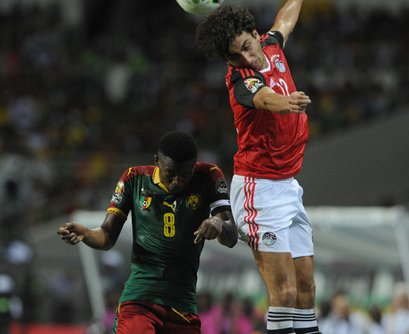 Amr Warda of Egypt challenges Benjamin Moukandjo of Cameroon during the 2017 Africa Cup of Nations Finals, Afcon Final match between Egypt and Cameroon at the Libreville  in Gabon on 05 February 2017 ©Sydney Mahlangu/BackpagePix