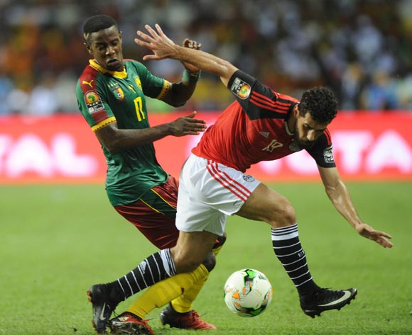 Abdallah El Said of Egypt is tackled by Arnaud Djoum of Cameroon during the 2017 Africa Cup of Nations Finals, Afcon Final match between Egypt and Cameroon at the Libreville  in Gabon on 05 February 2017 ©Sydney Mahlangu/BackpagePix