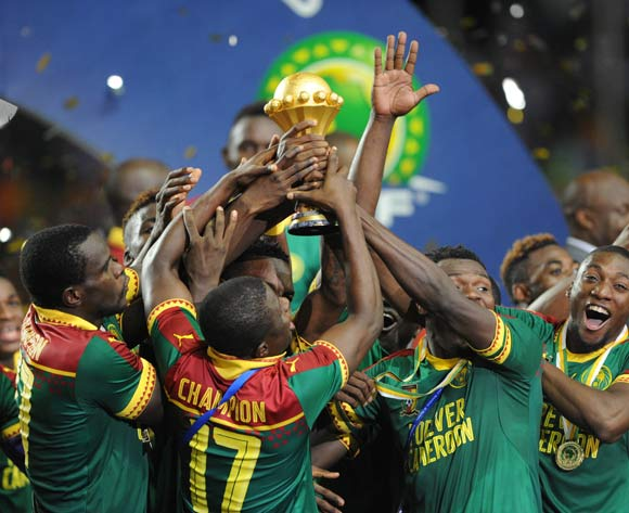 Cameroon celebrates being crowned Champions during the 2017 Africa Cup of Nations Finals, Afcon Final match between Egypt and Cameroon at the Libreville  in Gabon on 05 February 2017 ©Sydney Mahlangu/BackpagePix