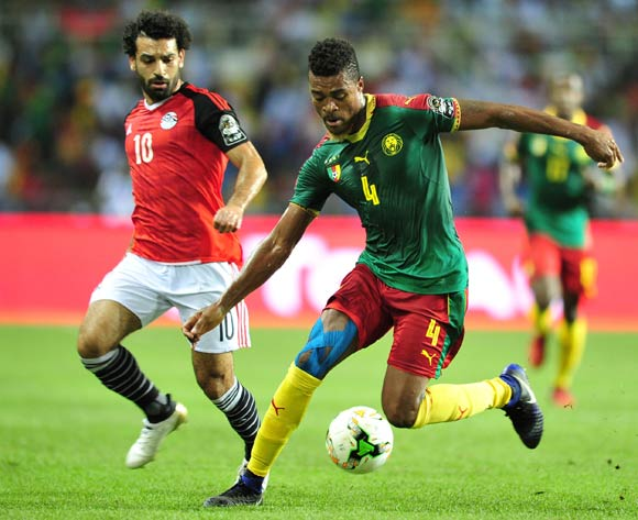 Adolph Teikeu Kamgang of Cameroon challenged by Mohamed Salah of Egypt during the 2017 Africa Cup of Nations Finals Afcon Final match between Egypt and Cameroon at the Libreville in Gabon on 5 February 2017 ©Samuel Shivambu/BackpagePix