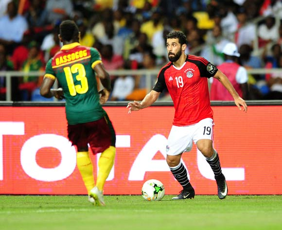 Abdallah El Said of Egypt challenged by Christian Bassogog of Cameroon during the 2017 Africa Cup of Nations Finals Afcon Final match between Egypt and Cameroon at the Libreville in Gabon on 5 February 2017 ©Samuel Shivambu/BackpagePix