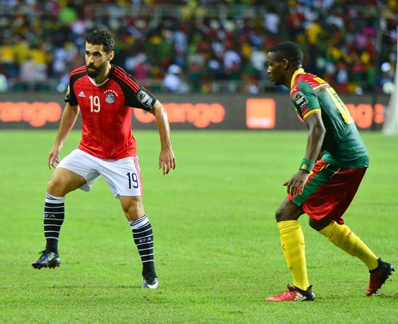 Abdallah El Said of Egypt challenged by Arnaud Djoum of Cameroon during the 2017 Africa Cup of Nations Finals Afcon Final match between Egypt and Cameroon at the Libreville in Gabon on 5 February 2017 ©Samuel Shivambu/BackpagePix