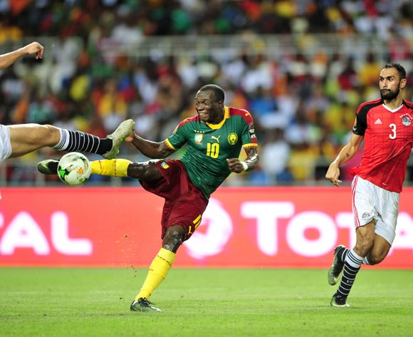 Vincent Aboubakar of Cameroon score a goal and Ahmed Elmohamady of Egypt looking during the 2017 Africa Cup of Nations Finals Afcon Final match between Egypt and Cameroon at the Libreville in Gabon on 5 February 2017 ©Samuel Shivambu/BackpagePix