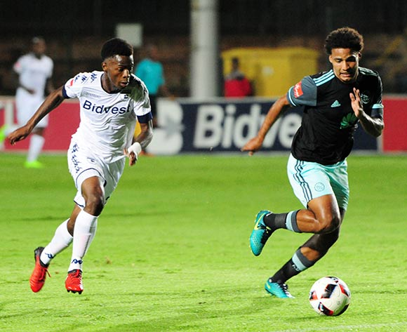 Phakamani Mahlambi of Bidvest Wits challenges Rivaldo Coetzee of Ajax Cape Town during the Absa Premiership 2016/17 match between Bidvest Wits and Ajax Cape Town at Bidvest Stadium on 07 February 2017 ©Aubrey Kgakatsi/BackpagePix