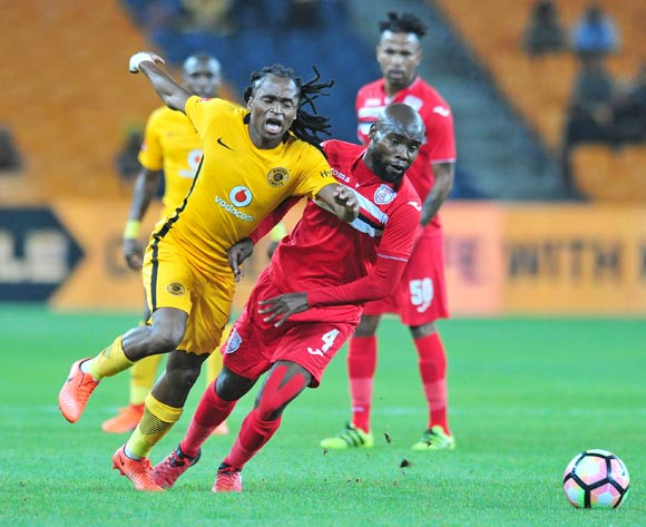 Siphiwe Tshabalala of Kaizer Chiefs challenged by Mbuyiselo Thethani of Free State Stars during the Absa Premiership 2016/17 match between Kaizer Chiefs and Free State Stars at FNB Stadium, Johannesburg South Africa on 07 February 2017 ©Muzi Ntombela/BackpagePix
