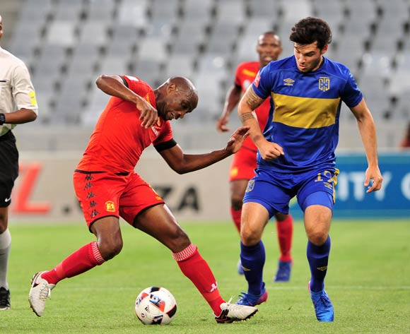 Surprise Moriri of Highlands Park is challenged by Roland Putsche of Cape Town City during the Absa Premiership 2016/17 game between Cape Town City and Highlands Park at Cape Town Stadium, Cape Town on 07 February 2017 © Ryan Wilkisky/BackpagePix