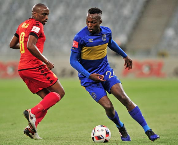Sibusiso Masina of Cape Town City turns away from Surprise Moriri of Highlands Park during the Absa Premiership 2016/17 game between Cape Town City and Highlands Park at Cape Town Stadium, Cape Town on 07 February 2017 © Ryan Wilkisky/BackpagePix