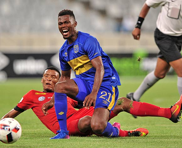 Thato Mokeke of Cape Town City is fouled by Mothobi Mvala of Highlands Park during the Absa Premiership 2016/17 game between Cape Town City and Highlands Park at Cape Town Stadium, Cape Town on 07 February 2017 © Ryan Wilkisky/BackpagePix